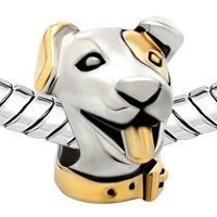Charms Beads - P GOLDEN PUPPY DOG HEAD ANIMAL TWO TONE PLATED BEADS CHARMS BRACELETS FIT ALL BRANDS alternate image 1.