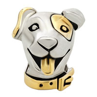 Charms Beads - P GOLDEN PUPPY DOG HEAD ANIMAL TWO TONE PLATED BEADS CHARMS BRACELETS FIT ALL BRANDS alternate image 2.