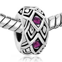 Man's Jewelry - AMETHYST PURPLE SWAROVSKI CRYSTAL RHOMBUS BEAD DESIGNER CHARM BRACELET alternate image 1.