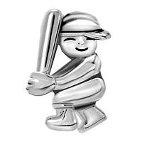 Charms Beads - SILVER BASEBALL PLAYER SPORTS CHARM FOR BRACELET CHARM BRACELET alternate image 2.