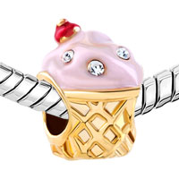 Charms Beads - GOLD CUP WHITE CRYSTAL APRIL BIRTHS ROSE PINK ICE CREAM BEAD CHARM alternate image 1.