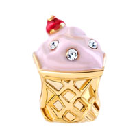 Charms Beads - GOLD CUP WHITE CRYSTAL APRIL BIRTHS ROSE PINK ICE CREAM BEAD CHARM alternate image 2.