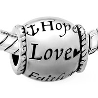 Charms Beads - HOPE LOVE FAITH SILVER TONE BARREL BEAD DESIGNER CHARM BRACELET CHARM alternate image 1.