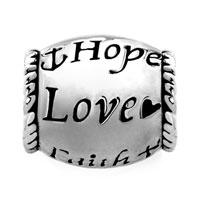 Charms Beads - HOPE LOVE FAITH SILVER TONE BARREL BEAD DESIGNER CHARM BRACELET CHARM alternate image 2.