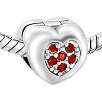 Charms Beads - RED CRYSTAL FLOWER CHARMS BRACELETS HEART LOVE CLIP LOCK STOPPER alternate image 1.
