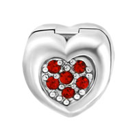 Charms Beads - RED CRYSTAL FLOWER CHARMS BRACELETS HEART LOVE CLIP LOCK STOPPER alternate image 2.