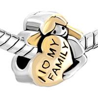 Charms Beads - 18K GOLD MOTHER'S AMERICAN GIRL CHARM BRACELET I LOVE MY FAMILY HEART alternate image 1.