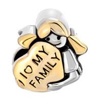 Charms Beads - 18K GOLD MOTHER'S AMERICAN GIRL CHARM BRACELET I LOVE MY FAMILY HEART alternate image 2.