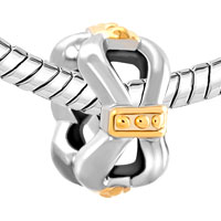 Charms Beads - SILVER PLATED GOLD BOWKNOT CHARM BRACELET SPACER EUROPEAN BEAD alternate image 1.