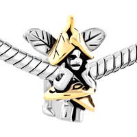 Charms Beads - GOLD LEAF WINGS ANGEL ON MUSHROOMS CHARM BEAD DESIGNER CHARM BRACELET alternate image 1.