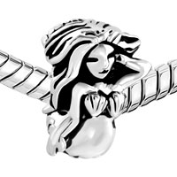 Charms Beads - SILVER BEAUTIFUL LONGHAIRED MERMAID ACCENTED SHELLS BEAD CHARM alternate image 1.