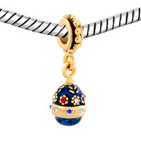 Charms Beads - BLUE EASTER FABERGE EGG FLOWER DANGLE GOLDEN CHARM BRACELET SPACERS alternate image 1.