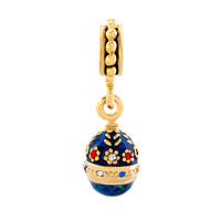 Charms Beads - BLUE EASTER FABERGE EGG FLOWER DANGLE GOLDEN CHARM BRACELET SPACERS alternate image 2.