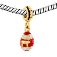 Charms Beads - RED EASTER FABERGE EGG WITH BULL ANIMAL CHARMS FOR DANGLE SPACER alternate image 1.