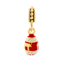 Charms Beads - RED EASTER FABERGE EGG WITH BULL ANIMAL CHARMS FOR DANGLE SPACER alternate image 2.