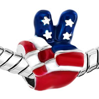 Charms Beads - USA PATRIOTIC FLAG VICTORY HAND SIGN LANGUAGE BEAD CHARM BRACELETS alternate image 1.