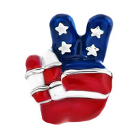 Charms Beads - USA PATRIOTIC FLAG VICTORY HAND SIGN LANGUAGE BEAD CHARM BRACELETS alternate image 2.