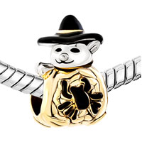Charms Beads - GOLD CUTE SPIDER SNOWMAN WITH CLASSIC BLACK GENTLEMAN HAT BEAD CHARM alternate image 1.