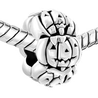 Charms Beads - SILVER CUTE JACKO LANTERN HALLOWEEN PUMPKIN BEAD CHARM BRACELETS alternate image 1.