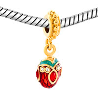 Charms Beads - RED CRYSTAL EASTER FABERGE EGG DANGLE GOLDEN CHARM BRACELET SPACERS alternate image 1.
