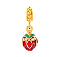 Charms Beads - RED CRYSTAL EASTER FABERGE EGG DANGLE GOLDEN CHARM BRACELET SPACERS alternate image 2.