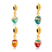 Charms Beads - RED CRYSTAL EASTER FABERGE EGG DANGLE GOLDEN CHARM BRACELET SPACERS alternate image 4.