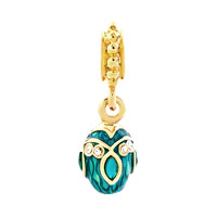 Charms Beads - BLUE TOPAZ CRYSTAL EASTER FABERGE EGG DANGLE GOLDEN CHARM SPACERS alternate image 2.