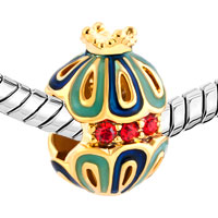 Charms Beads - GOLD SNOW WHITE KING CROWN FILIGREE FABERGE EGG LUCKY CHARM BRACELET alternate image 1.