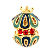 Charms Beads - GOLD SNOW WHITE KING CROWN FILIGREE FABERGE EGG LUCKY CHARM BRACELET alternate image 2.