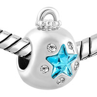 Charms Beads - AQUAMARINE BLUE CRYSTAL GUIDING STAR ORNAMENT LUCKY CHARM BRACELETS alternate image 1.
