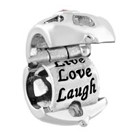 Charms Beads - SILVER PLATED LIVE LOVE LAUGH LOCKET CHARM BRACELET CRYSTAL CHARMS alternate image 1.
