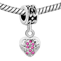 Charms Beads - SILVER CELTIC KNOT CHARM BRACELET SPACERS ROSE PINK CRYSTAL BRACELET alternate image 1.