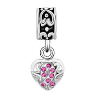 Charms Beads - SILVER CELTIC KNOT CHARM BRACELET SPACERS ROSE PINK CRYSTAL BRACELET alternate image 2.