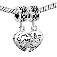 Charms Beads - MOTHER DAUGHTER HEART LOVE MOTHER AND SON CHARM SPACERS DANGLE BEAD alternate image 1.
