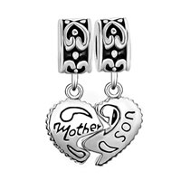 Charms Beads - MOTHER DAUGHTER HEART LOVE MOTHER AND SON CHARM SPACERS DANGLE BEAD alternate image 2.
