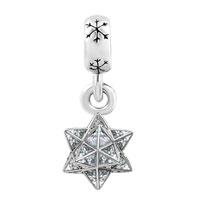 Charms Beads - SILVER SNOWFLAKE CHARM BRACELET SPACERS CRYSTAL PAVE STAR BRACELET alternate image 2.