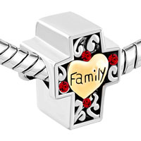 Charms Beads - TWO TONE RED FILIGREE HEART LOVE FAMILY ON CROSS BRACELET CHARM alternate image 1.