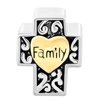 Charms Beads - TWO TONE RED FILIGREE HEART LOVE FAMILY ON CROSS BRACELET CHARM alternate image 2.