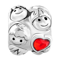 Charms Beads - MOTHER DAUGHTER CHARMS RED CRYSTAL HEART CHARM BRACELET LOVE FAMILY alternate image 2.