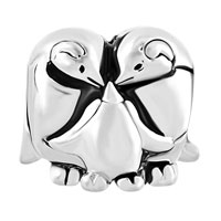 Charms Beads - SILVER MOTHER DAUGHTER PENGUIN FAMILY LOVE LUCKY CHARM BRACELET alternate image 2.