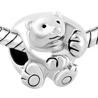 Charms Beads - SILVER CUTE POLAR ICE BEAR ANIMAL FOR BEADS CHARMS BRACELETS FIT ALL BRANDS alternate image 1.