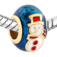 Charms Beads - SILVER PLATED GOLD RED HAT SNOWMAN FABERGE EGG LUCKY CHARM BRACELETS alternate image 1.
