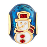 Charms Beads - SILVER PLATED GOLD RED HAT SNOWMAN FABERGE EGG LUCKY CHARM BRACELETS alternate image 2.