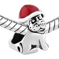 Charms Beads - SILVER PLATED DOG WEARING RED CHRISTMAS CHARM BRACELET HAT BRACELET alternate image 1.
