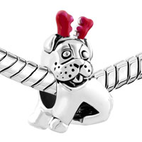 Charms Beads - PUG PUPPY DOG REINDEER HORN ANIMAL CHARM FOR BRACELETS EUROPEAN BEAD alternate image 1.
