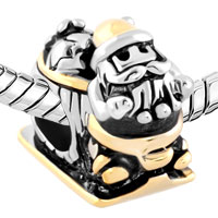 Charms Beads - GOLDEN SANTA ON SLED LUCKY FIT ALL BRANDS TWO TONE PLATED BEADS CHARMS BRACELETS alternate image 1.