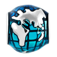 Charms Beads - SILVER SILVER LUCKY CHARM BRACELET OCEAN BLUE EARTH WORLD GLOBE alternate image 2.