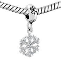 Charms Beads - SILVER SNOWFLAKE DANGLE LUCKY CHARMS BRACELETS CLEAR WHITE CRYSTAL alternate image 1.
