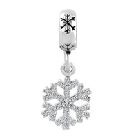Charms Beads - SILVER SNOWFLAKE DANGLE LUCKY CHARMS BRACELETS CLEAR WHITE CRYSTAL alternate image 2.