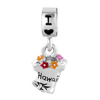 Charms Beads - DANGLE CHARM BRACELET SPACER MULTICOLOR SUMMER TSHIRT I LOVE HAWAII alternate image 2.